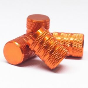 Set Of 4 Orange Tire Valve Cap W Lines W Rubber Ring Fits All Universal Wheel