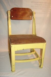 Vintage Mcm Wood And Metal Child School Chair Yellow