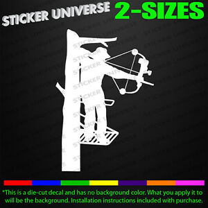Bow Hunter Tree Stand Truck Car Window Decal Bumper Sticker Archery Deer 0227