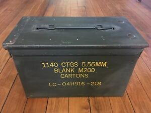 Vintage Military metal ammo box 1140 CTGS 5.56MM Blank M200 (7 available)