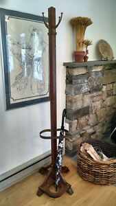 Antique Arts Crafts Mission Oak Hall Tree Coat Rack Stand With Umbrella Holder