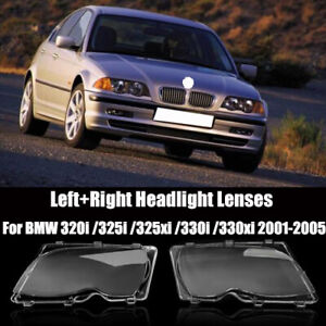 1 Pair Headlight Lens Clear Plastic Cover For Bmw E46 3series 4d 320i 325i 02 05