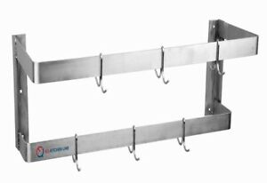 Eq Stainless Steel Kitchen Silver Rack Wall Shelf With Hooks For Restaurant 72