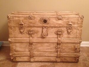 Vintage Steamer Trunk Coffee Table Shabby Chic Antiqued Sale