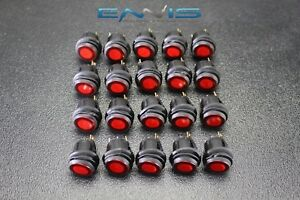 20 Pcs Rocker Switch On Off Red Toggle Led 12v 16 Amp 3 Pin Is ec wp1216red