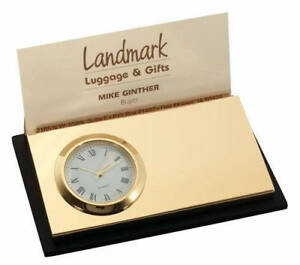 Free Engraved Personalized Clock With Business Card Holder Desk Gifts For Office
