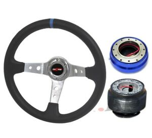 Jdm Godsnow Deep Dish 350mm Steering Wheel Chrome blue hub quick Release Blue