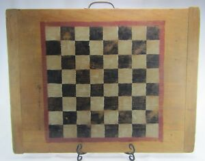 Medium Size Antique Vintage Checkerboard Or Chess Board W Original Paint