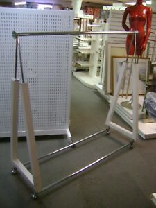 White Double Triangle Rack Garment Rack W Wheels