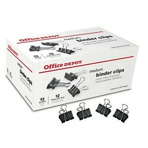 432 Count Medium Binder Clips Black Office Depot Max 1 1 4 Wide Ships Free
