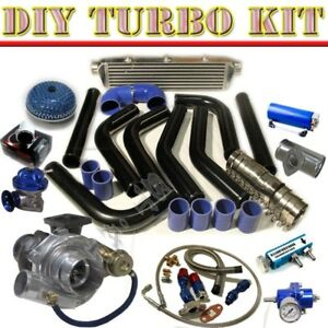 T3 t4 V band Turbo 27 Intercooler 2 5 Piping Kit bov Type rs adaptor Blk blue