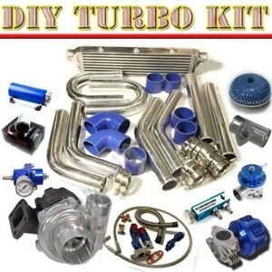 Turbo Charger 28 Intercooler u pipe Piping Kit bov Type s wastegate Chrome blue