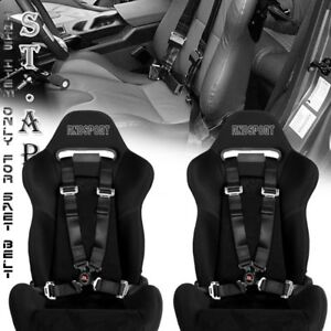 Universal New 2x Tow 4 Point Safety Harness Camlock 2 Inch Strap Seat Belt Blk