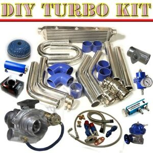 T3 t4 V band Turbo Charger intercooler u pipe Piping Kit bov Type rs Chrome blue
