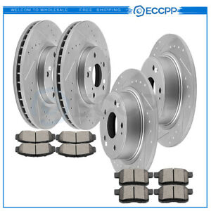 For Honda Accord Coupe Front Rear Drilled Slotted Brake Rotors And Ceramic Pads