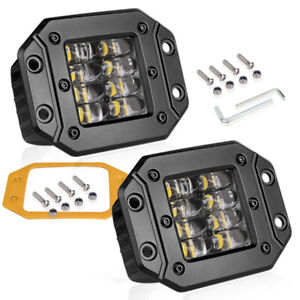 4 Dual Flush Mount Led Work Light Bar Pod Driving Fog Truck Offroad 4wd Trailer