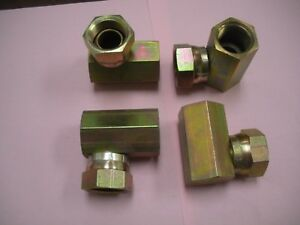 Hydraulic Fitting Swivel Elbow 90 Female X Female 7 8 X 7 8 Lot Of 4