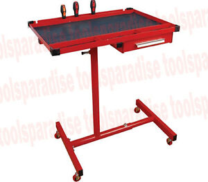 Auto Body Repair Mobile Tray Rolling Table Stand With Drawer Adjustable Height