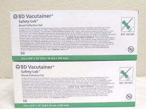 2 Boxes Of Bd Vacutainer 21g Safety lok Blood Collection Set Ref No 367281