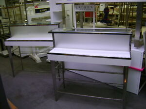 White Chrome Glass Tier Retail Store Fixture Merchandise Display Table