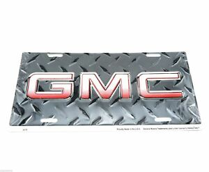 Gmc Logo Black Diamond Plate Licensed Aluminum Metal License Plate Sign Tag