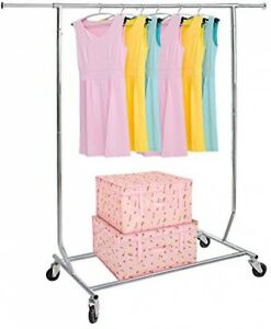250lbs Heavy Duty Commercial Clothing Garment Rolling Collapsible Rack Free Ship