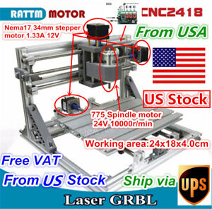 us 3 Axis 2418 Diy Mini Cnc Router Milling Engraving Laser Machine Grbl Control