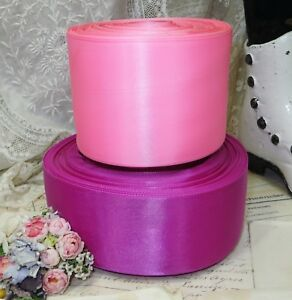 2 Spool Lot Pink Magenta Cerise Satin Ribbon Vtg Trim Flapper Hat Ribbonwork