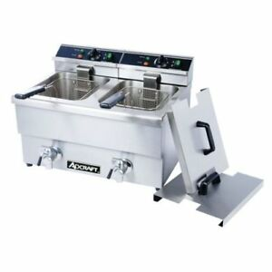 Adcraft Countertop Double Tank Deep Fryer With Faucet 23 X 18 X 16 Inch 1