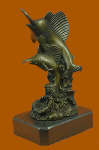 Clearance Sale Original Two Marlin Bronze Sculpture Marble Base Figurine Gift