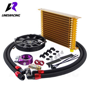 15 Row Aluminum 10an Turbo Engine Transmission Oil Cooler 7 Electric Fan Kit