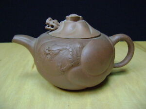 Beautiful Chinese Yixing Zisha Red Clay Teapot Dragon Head Lid Signed