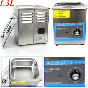1 3l Ultrasonic Cleaner Jewellery Watchestimer Bath Tank Wave Cleaning Stainless