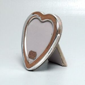 Hallmarked English Heart Shaped Sterling Silver Picture Frame Photo Easel Sl