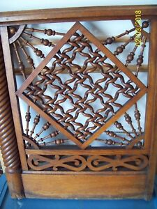 Vintage Walnut Twisted Rope Carved Architectural Wood Panel Door Gate Stair