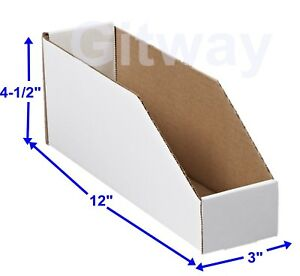 50 3 X 12 X 4 1 2 Corrugated Cardboard Open Top Storage Parts Bin Bins Boxes