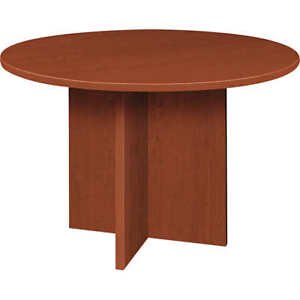 Basyx By Hon 48 Round Conference Table Medium Cherry No Tax Free Shipping