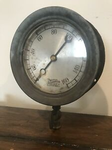 Antique Ashton Steam Gauge 160psi Vintage Steampunk Rustic Industrial Railroad