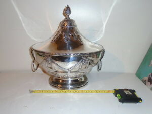 Spectacular Antique Silver Plated Rams Head Soup Tureen Acorn Finial