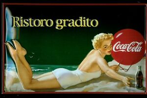 Coca Cola Italian Girl Tin Sign Shield 3D Embossed Arched 7 7/8x11 13/16in