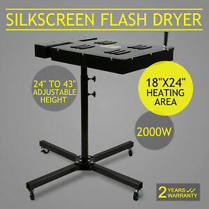 18 X 24 Flash Dryer Silkscreen Printing Heating Ink Curing T shirt 4 Wheels