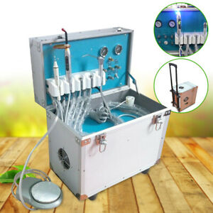 Dental Portable Delivery Unit Rolling Case Air Compressor scaler curing Light