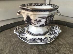William Adams Sons Ironstone Tureen Under Plate Stand Mulberry Black Jeddo