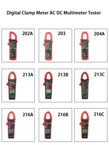Uni t Digital Clamp Meter Ac Dc Temperature Multimeter Tester Grey Red