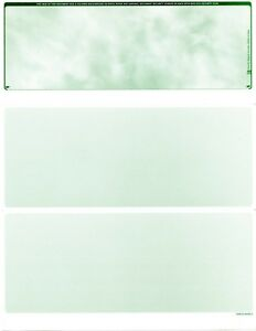 1000 Blank Business Checks Marble Green Top