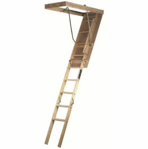 Wood Attic Ladder 7 Ft 8 Ft 9 In 250 Lb Maximum Load Capacity Ladder stairs