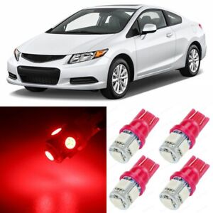 10 X Ultra Red Interior Led Lights Package For 2006 2012 Honda Civic Tool