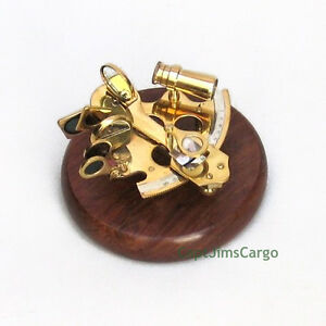 Small Solid Brass Sextant On 5 Wooden Base Nautical Astrolabe Desktop Decor New