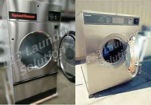 Speed Queen 75lbs Coin Operated Gas Dryer New Washer Stainless Steel 80lbs Set