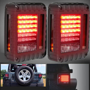 07 17 For Jeep Wrangler Jk Pair Led Tail Lights Rear Clear Brake Turn Signal